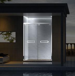 73P02不锈钢推拉屏风淋浴房